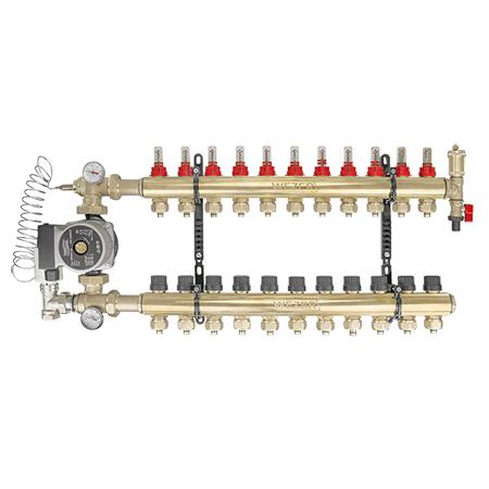 Коллектор в сборе с насосом для теплого пола Wezer WF-11B угловой
