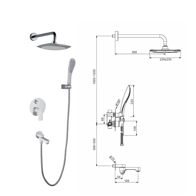 Смеситель для ванны Gappo Noar G7148-8